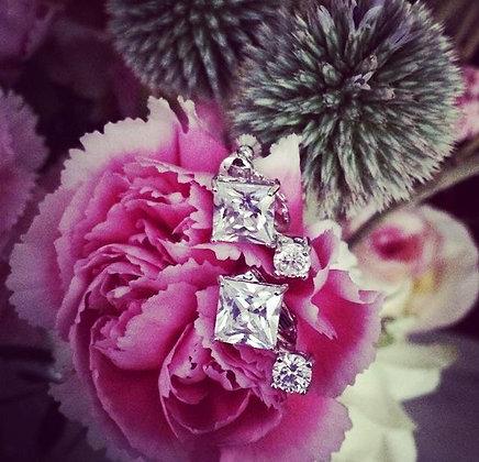 =Alice W= 訂製款鋯石夾式耳環 (正方單鑽款)