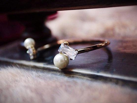 =Alice W 訂製款= 黃銅鍍18K金鋯石珍珠手環