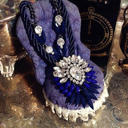 藍色華麗水鑽項鍊