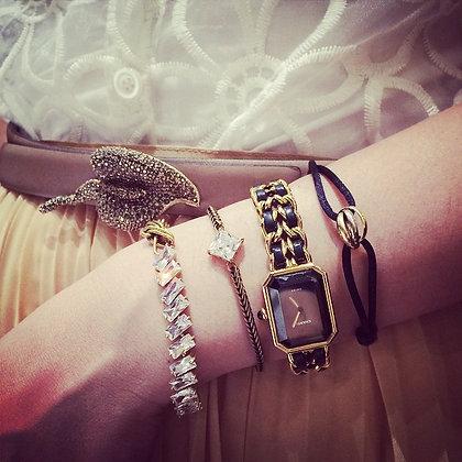 =Alice W 訂製款= 不對稱設計排鑽黃銅編織手鍊