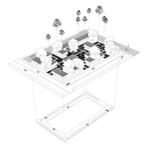Exploded axonometric view of a perimeter block