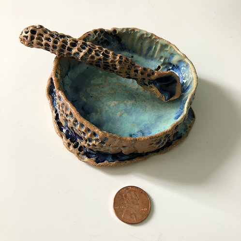 Large Blue Dish and Spoon