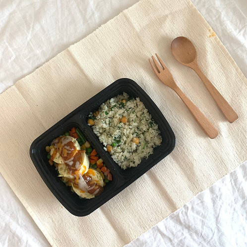 [low calorie] Tofu chicken breast steak with chickpeas rice