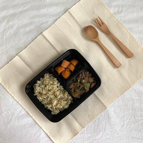 Bulgogi with Mushroom fried rice, sweet potato