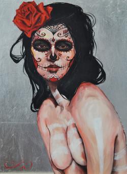 Santa Muerte,12x16,mixmediaonpanel,$1200