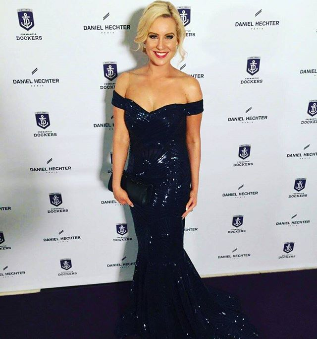 The gorgeous Kristina B wearing our Jadore gown at the Dockers ball last night