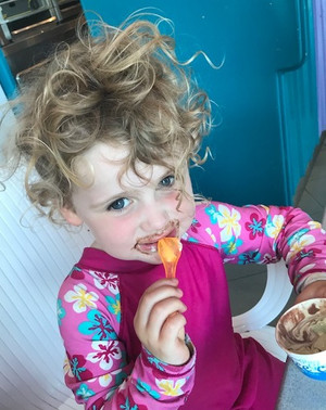 Maltese Getaway with My 3 Year Old: Olivia eats Ice Cream.