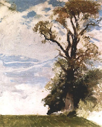 The Elm Tree by William Nicholson in the story of George EDmund Street at Filkins in the Land of the Twelve Churches