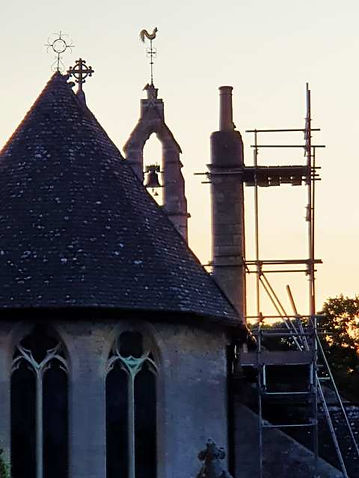 A new chimney at Filkins Church in The Land of the Twelve Churches