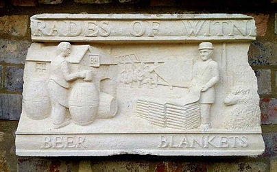 Trades of Witney carved in limestone at Witney Blanket Hall