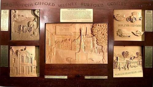 Carved panel at Witney Blanket Hall