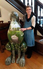 Veronica and a giant hare at Witney Blanket Hall