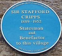 Sir Stafford Cripps Blue Plaque in Filkins