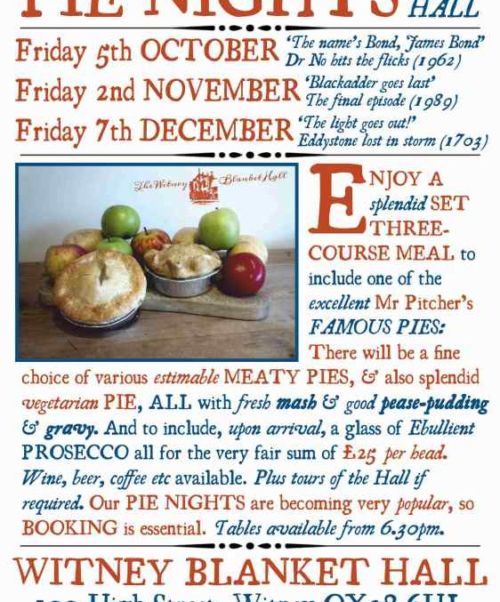 Pienights at the Hall... Not be missed!