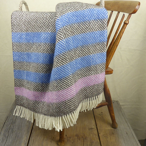 Contemporary Point Blanket Throw - Azure