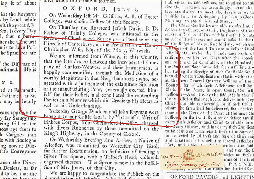 18th and 19th century newspaper report from Witney Blanket Hall