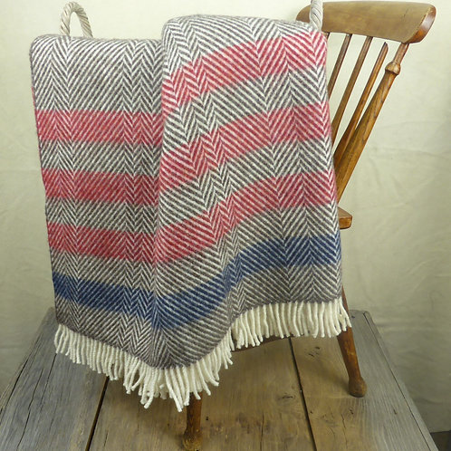 Contemporary Point Blanket Throw - Ruby