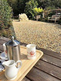 Enjoy a coffee in the garden at Witney Blanket Hall