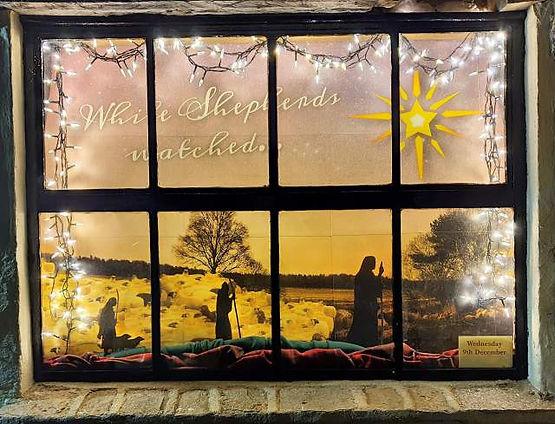 Cotswold Woollen Weavers Advent Trail window in Filkins