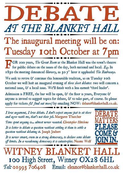 Debate evenings at Witney Blanket Hall
