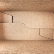 Empty open rectangular cardboard box clo