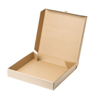 Empty pizza box isolated on white backgr