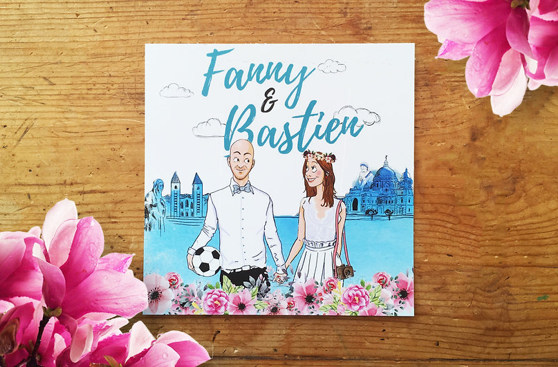 faire-part illustration illustré mariés