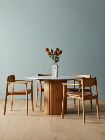 tathra table, poise chair