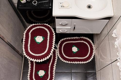 Jogo Para Banheiro 3 Pç Crochê com Flor