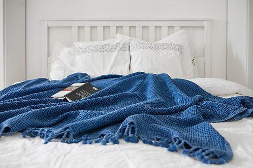 Mahir Matriks - Baumwolldecke im Waffeldesign blau