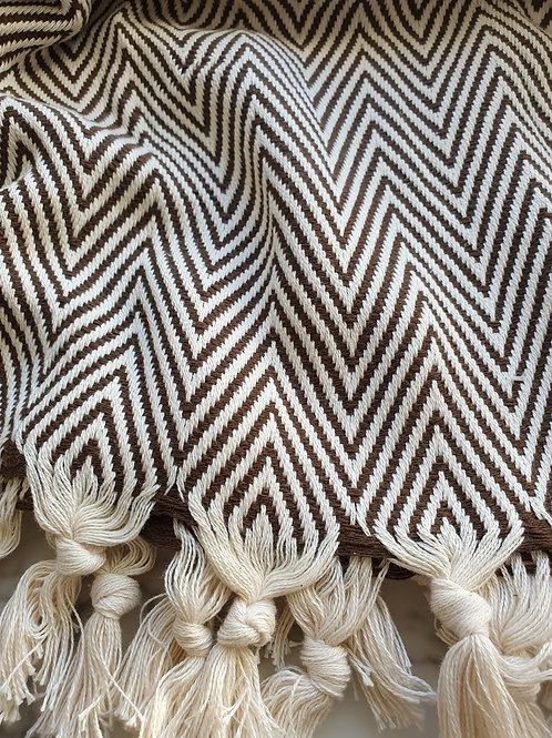 Müster Murat - Baumwolldecke im schicken gemusterten Design braun