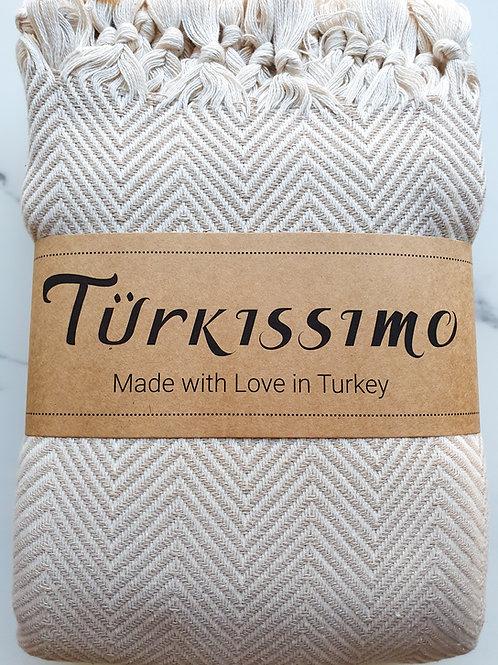 Müster Murat - Baumwolldecke im schicken gemusterten Design beige