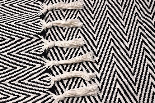 Müster Murat - Baumwolldecke im schicken gemusterten Design schwarz/weiß
