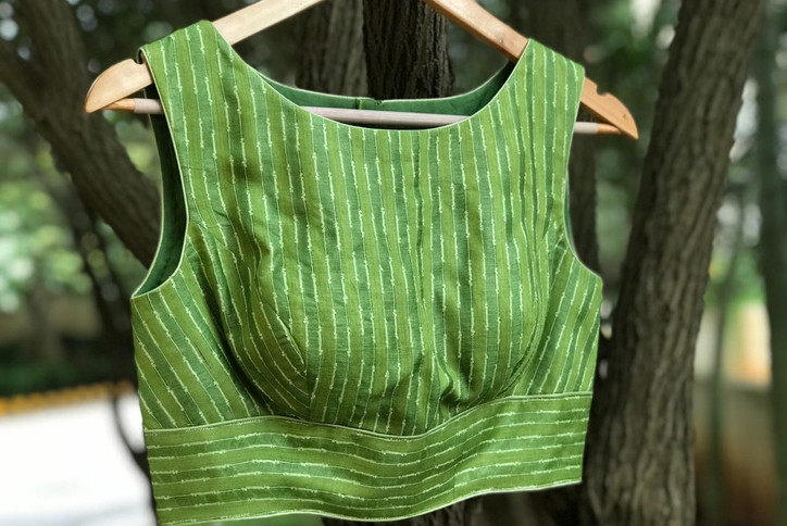 Green tussar boat neck