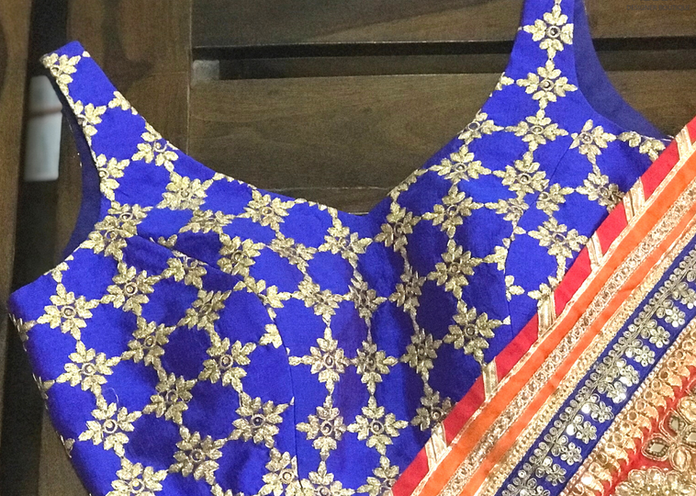 Royal Blue self embroidered blouse