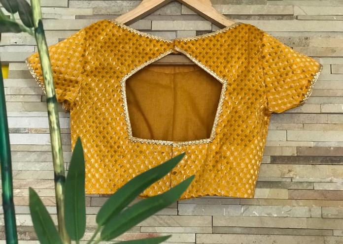 Yellow Banarasi blouse