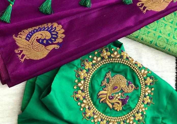Green and magenta peacock motif.jpeg
