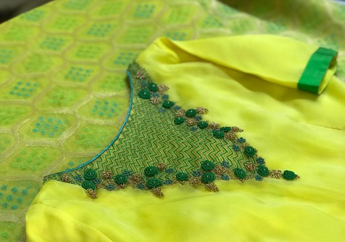 HW Green an Yellow Bullion knot work.jpe
