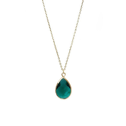 Teardrop Necklace - Emerald Green