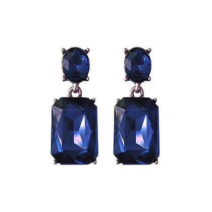Crystal Drop Earrings - Navy