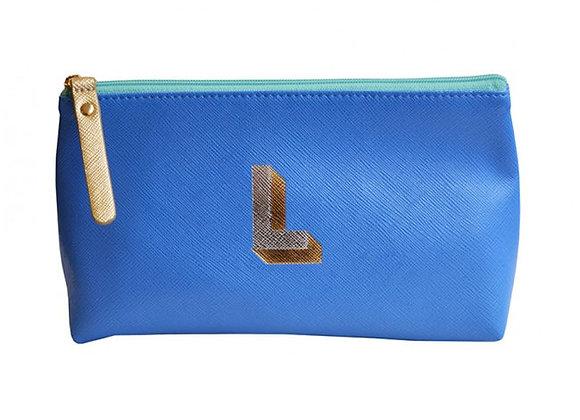 Monogrammed Make Up Bag with metallic letter 'L' - Cornflower
