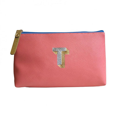Make Up Bag with metallic letter 'T' – Coral