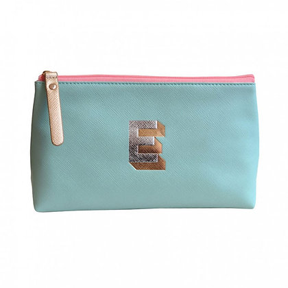 Make Up Bag with metallic letter 'E' – Aqua