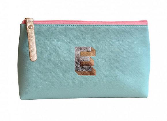 Monogrammed Make Up Bag with metallic letter 'E' – Aqua