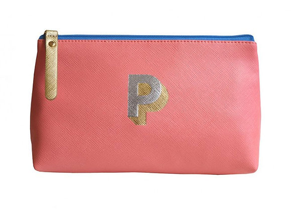Monogrammed Make Up Bag with metallic letter 'P' – Coral
