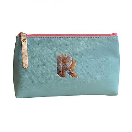 Make Up Bag with metallic letter 'R' – Aqua