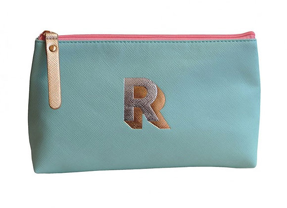 Monogrammed Make Up Bag with metallic letter 'R' – Aqua