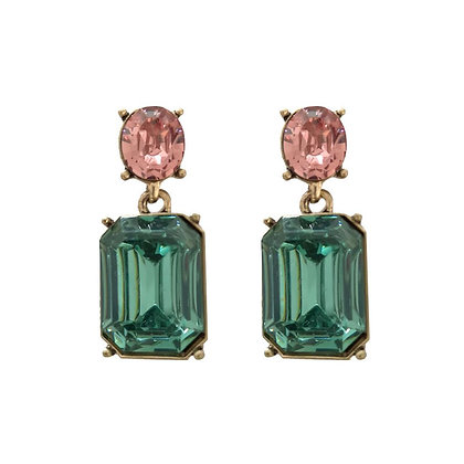 Crystal Drop Earrings - Green and Pink