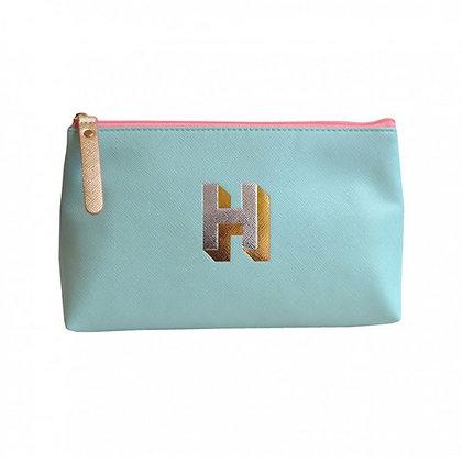 Make Up Bag with metallic letter 'H' – Aqua