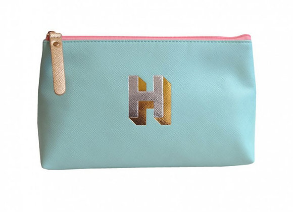 Monogrammed Make Up Bag with metallic letter 'H' – Aqua